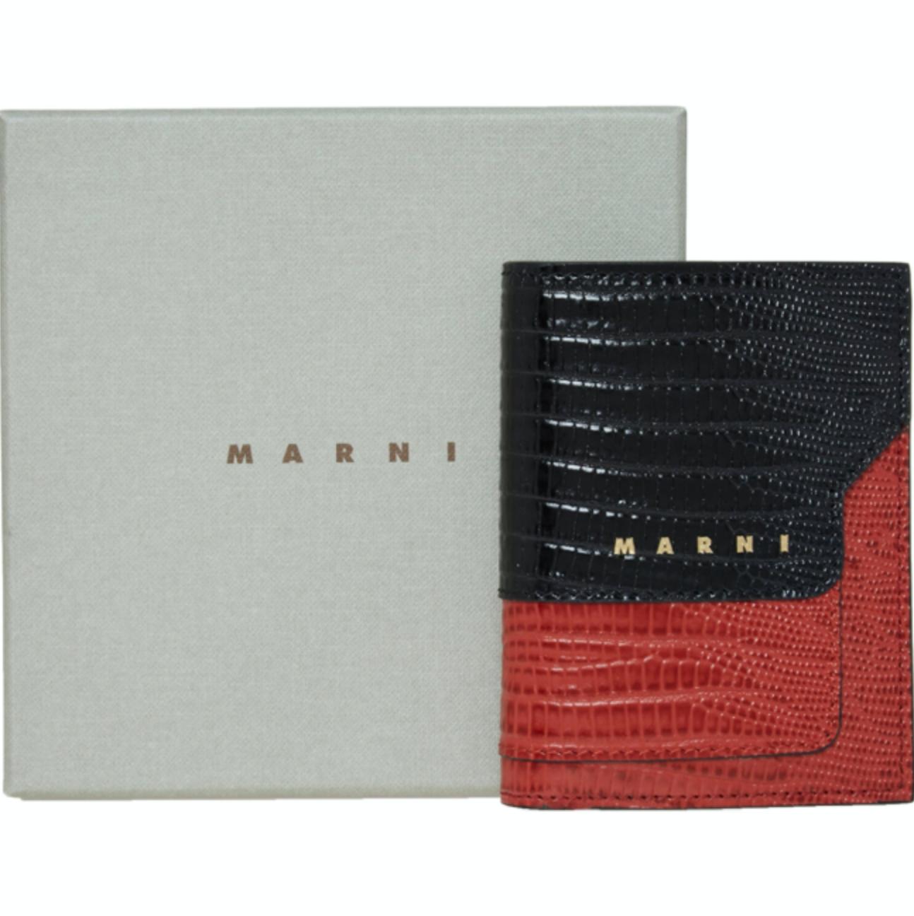 MARNI Croc Print Leather Bi-Fold Bi-Coloured Wallet