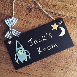 boys door sign name plaque nursery bed room rocket baby personalised