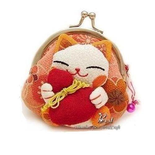 Japanese Silk Crepe Kimono Brocade Chirimen Fabric Wallet Coin Purse Lucky Cat