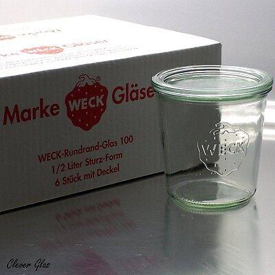 6 Stück WECK ® Einkochgläser Einmachglas 1/2 Liter Sturzglas / Sturzform RR100