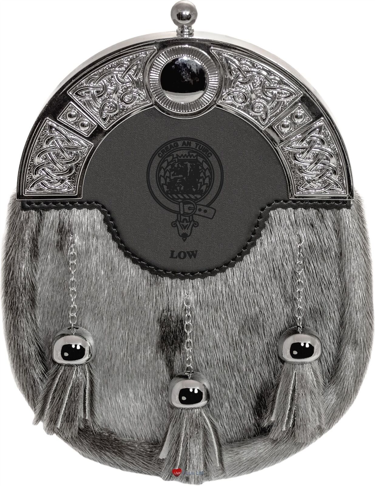 Low Dress Sporran 3 Tassels Studded Celtic Arch Scottish Clan Crest