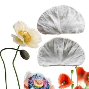 2Pc Poppies Petal Flower Leaves Silicone Fondant Mold Cake Leaf Sugarcraft Mould
