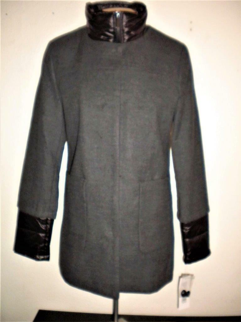 FRENCH CONNECTION WOMEN'S SIZE MEDIUM CHARCOAL MIXED MEDIA STAND COLLAR COAT