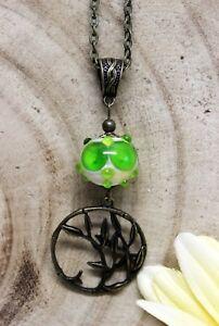 Glass-Jewels-Bronze-Halskette-Lampwork-Perle-Vintage-Gruen-Bambus-Boho-N030