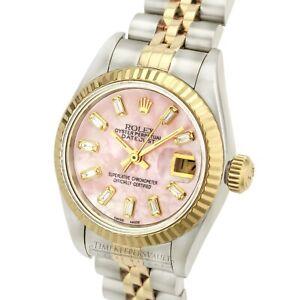 Rolex-Lady-Datejust-Quickset-Pink-MOP-Diamond-Dial-18K-Gold-Fluted-26mm