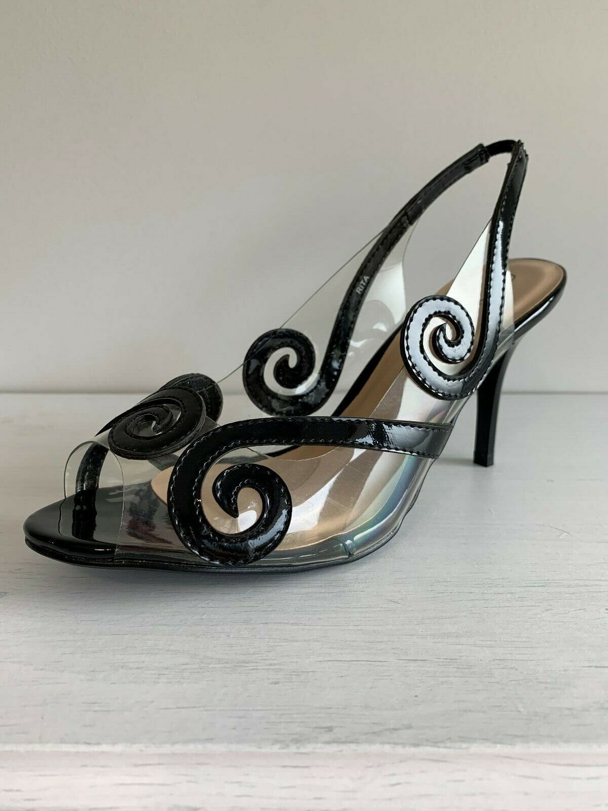 Lunar ' Rita ' noir Verni   Perspex Bride Bout Ouvert Chaussure UK6, Ue 39