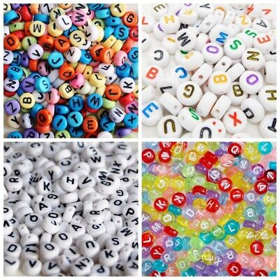 500 x Mixed Transparent Acrylic 7mm Round Alphabet Beads Letter