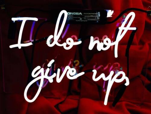"14/""x10/""I do not give up Neon Sign Party Büro Neonleuchte Beleuchtung Wandbehang"