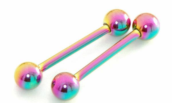 Pair 14g 5 8 Length Rainbow Titanium Plated Nipple Rings Tongue