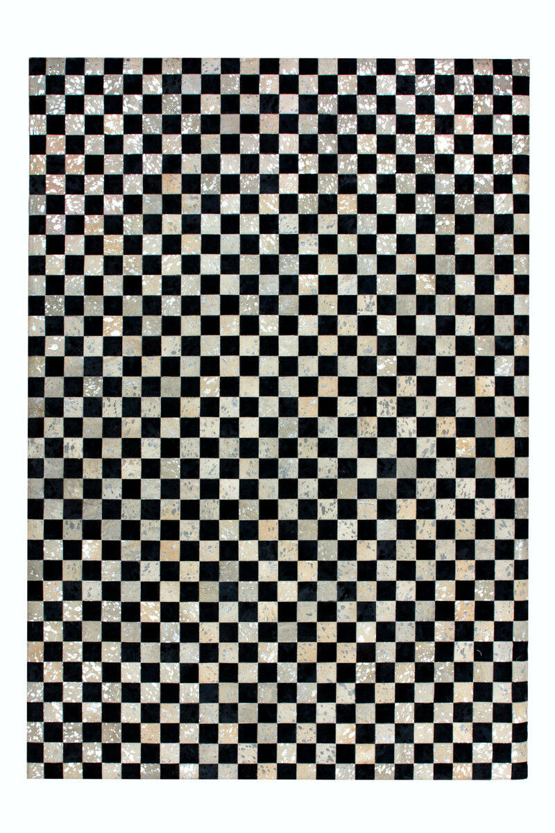 Cuir Tapis Cuir Synthetique Tapis damier Patchwork Design Argent