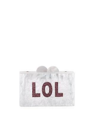 "Sparkly White with Sparkly /""OMG/"" BARI LYNN BOX CLUTCH"