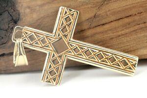 Gold-Kreuz-585-14K-Gelbgold-Anhaenger-Laenge-41-7mm-Christentum-Vintage