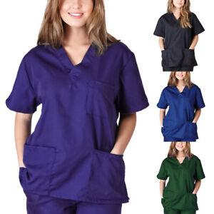 Scrub-Top-Hospital-Dental-Medical-Uniform-Maternity-Nurse-Angel-Doctor-Workwear