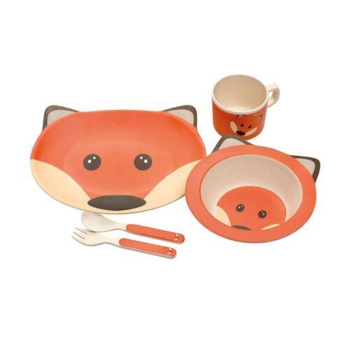 Fox Design 5 Piece Bamboo Dinner Set Kids Eco Friendly Dishwasher Safe BPA Free