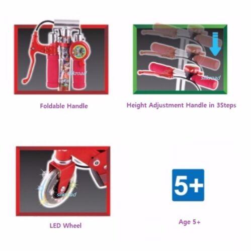 Power Rangers Foldable Aluminum Kick Scooter for Kids w// Hand Brake Lever Bell