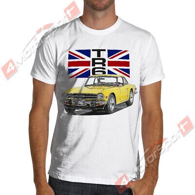 Triumph TR3A//B side view white on black 100/% cotton T-Shirt