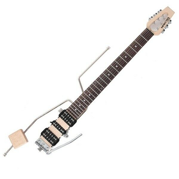 Ministar Castar III Travel Guitar Natural Finish H-S-H Pickups with Built-in Amp