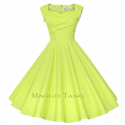 Maggie Tang 50s VTG Retro Pinup Hepburn Rockabilly Business Swing Dress 567
