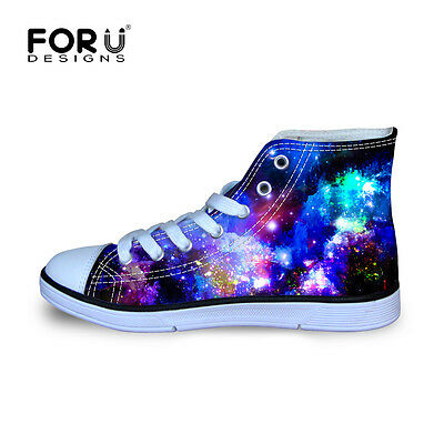 genuine shoes discount picked up Cool Galaxy Space Kids Girls Canvas Sports Shoes Flat High ...