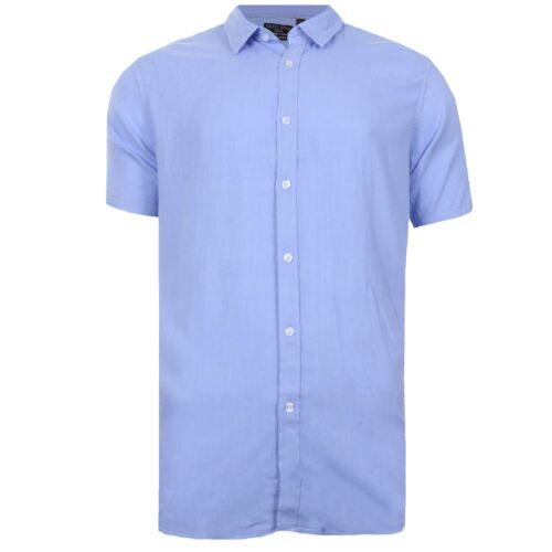 Mens Work Shirt Plain Solid Colours Short Sleeve Linen Casual Top