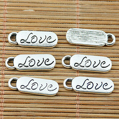 20pcs Tibetan silver word love oval charms EF1897