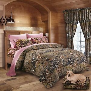the woods queen size 7pc set camo comforter pink sheet 12859 | s l300