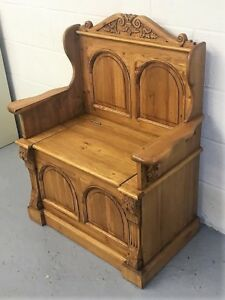 Super Details About Solid Wood Old Pine Monks Bench Pew Settle With Lift Up Lid For Storage Caraccident5 Cool Chair Designs And Ideas Caraccident5Info