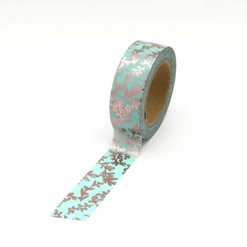 Washi Tape Mint Rose Gold Foil Leaf Flowers Decorative Masking Self Adhesive