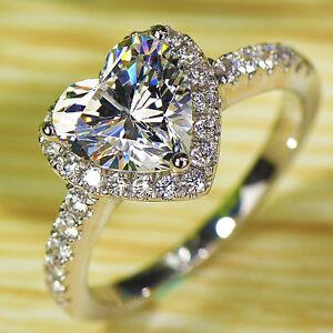 image is loading heart love white topaz diamonique 925 silver filled - Diamonique Wedding Rings