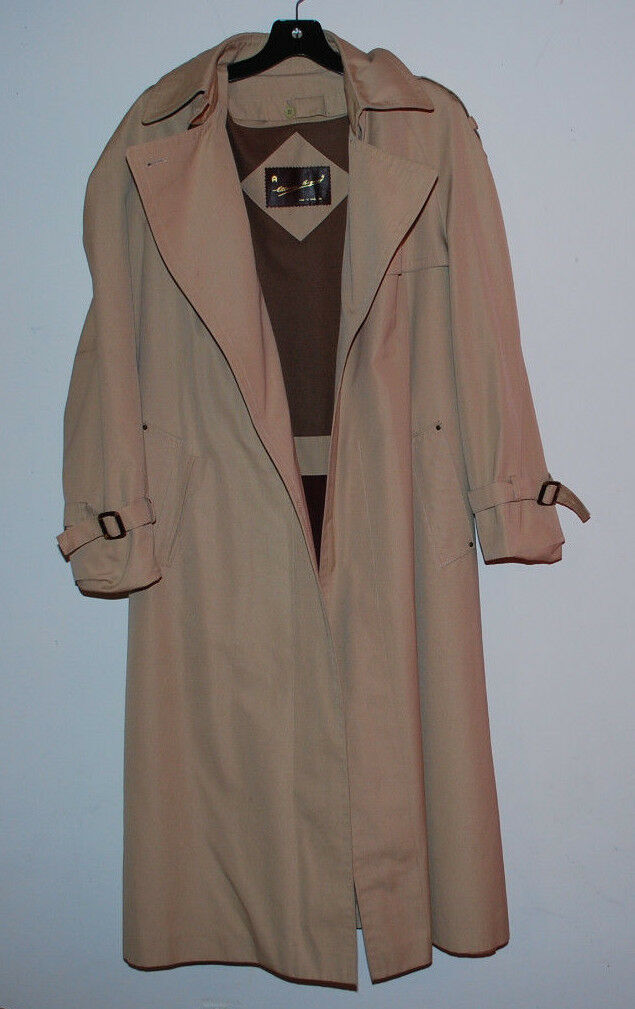 Etienne Aigner Trench Coat Tan Womens 12 Removable Lining Wool Blend Belt NWOT