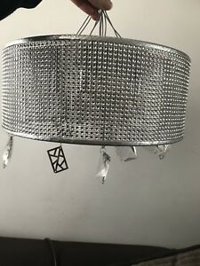 eed17f4a6df4 John Lewis Tiffany Mesh Semi Flush Ceiling Light, Chrome – RRP £130 ...