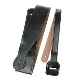 Adjustable-Black-Soft-PU-Leather-Thick-Strap-For-Electric-Acoustic-Guitar-Bass