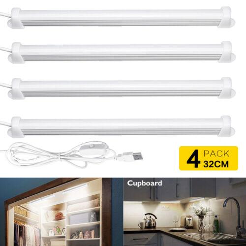 4pcs Kitchen Under Cabinet Shelf Counter USB LED Light Bar Lighting Kit