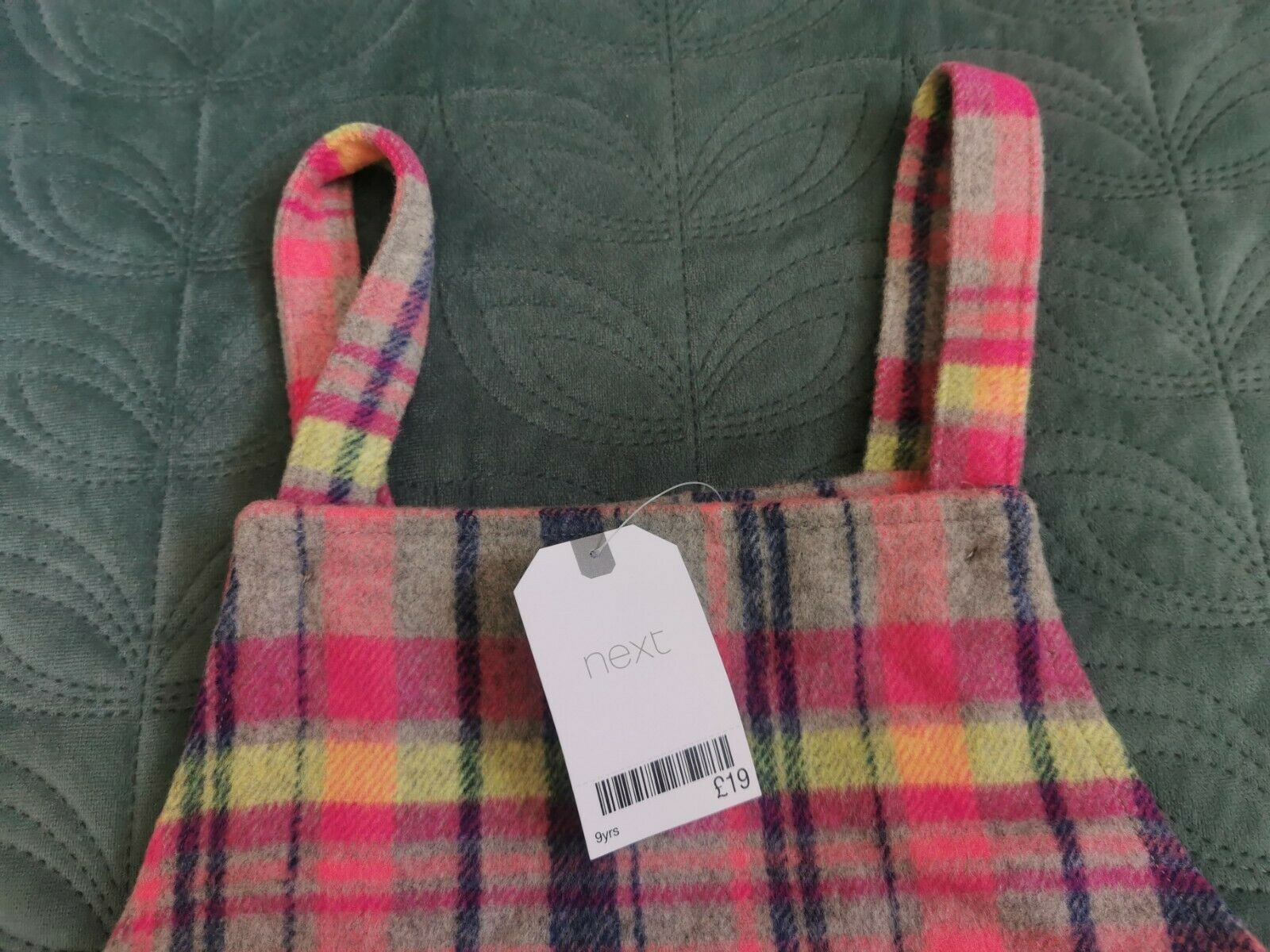 * Next Neon Check Pinafore size 9Y Pink Yellow Bright Warm Wool Blend