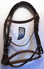 NEW TOUGH-1 ENGLISH BRIDLE HUNTER HUNT FULL SIZE RAISED LEATHER  HORSE TACK