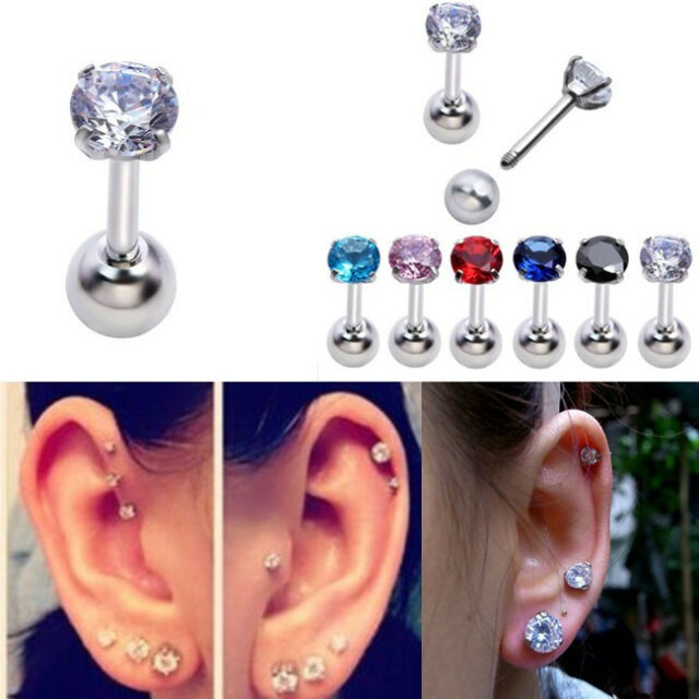 16G Steel CZ Round Barbell Ear Tragus Cartilage Helix Stud Earring Body Piercing