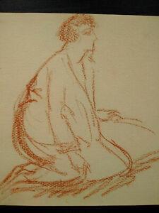 Belle étude à la sanguine femme Art Déco dessin original 1920 - 1930