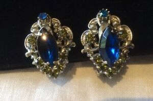 Vintage-Rhinestone-Clip-on-Earrings-White-Metal-Set-With-Blue-And-Green-Crystals