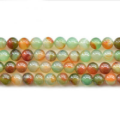 6mm-12mm Natural Peacock Agate Gemstone Round Loose Beads Stone DIY 15.5""