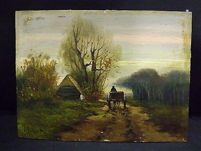 "Antique oil on table landsacape scene miniature painting signed ""J. Ten Cate"""