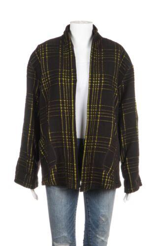 tasche Medium Nero Giacca Verde frontali Babette Wool Blend Plaid Giallo aperte RnWWF8qA