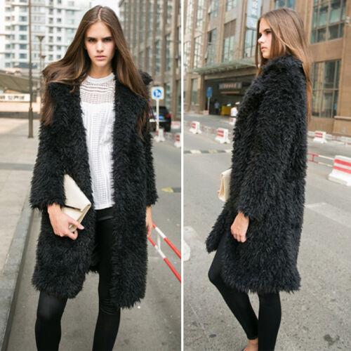 Womens Faux Fur Winter Warm Fluffy Coat Cardigan Jacket Outwear Loose Overcoat