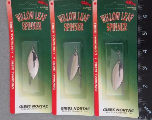 """THREE Gibbs Willowleaf Spinners Nickel 1-3//4/"""" Long Item# 0060-175N-1"""