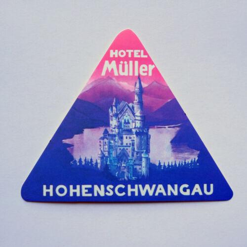 "Hotel Müller Hohenschwangau Castle Germany Retro 3/"" Travel Luggage Label Sticker"