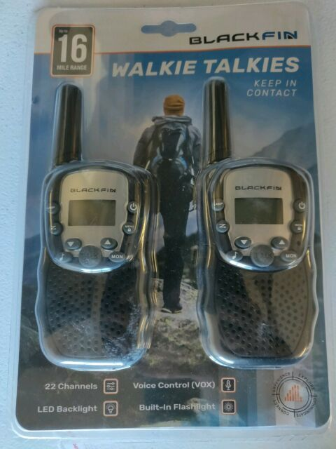 22 Channels up to 16 Mile Range Two-Way Radios 2 BlackFin Walkie Talkies