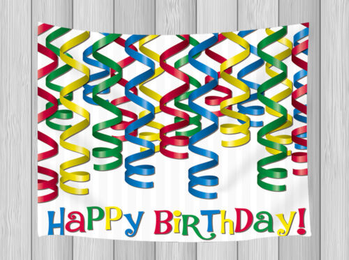 3D Color Bar Happy Birthday Wall Decor Hanging Tapestry Smooth Supple Multi-size