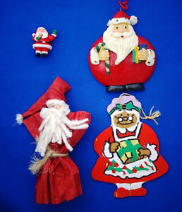 lot-of-4-Christmas-ornaments-Santa-Claus-Mrs-Claus-1-034-to-5-034-tall-vintage