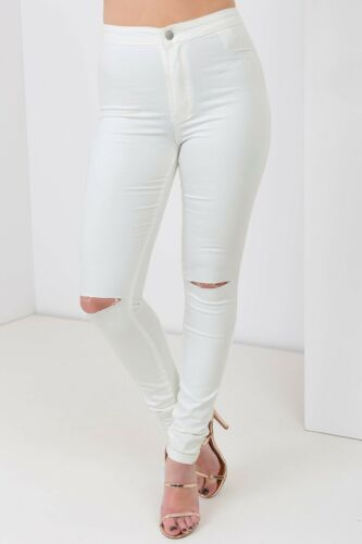 NUOVA linea donna Celeb vita alta Pianura Ripped Knee Stretch Skinny Jeans SLIM FIT TUBE