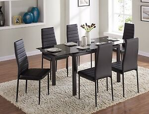 Image Is Loading Extending Gl Dining Table Set And With 6