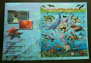 [SJ] United Nations International Year Of Ocean 1998 Fish Whale Turtle Coral FDC